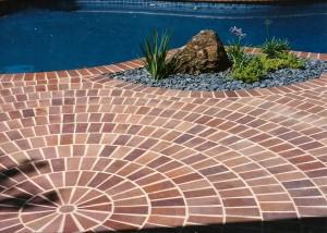Pool brick design by landscape architect