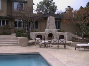 Custom outdoor fireplace design