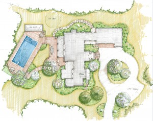 map with landscape design plan