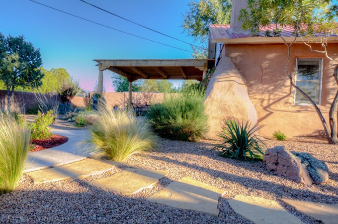 Before and after landscapes for 5 elements salon albuquerque